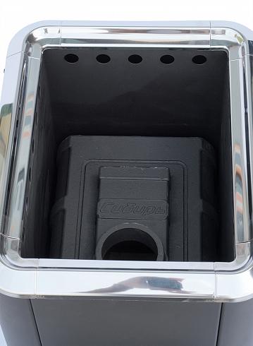 """Чугунная банная печь """"Сибирь-18"""" конвекционная с панорамной дверцей"""